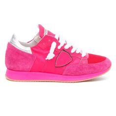Philippe Model Neon Pink Tropez Low Top Sneakers ($220) ❤ liked on Polyvore featuring shoes, sneakers, pink, pink shoes, philippe model, neon pink sneakers, neon pink shoes and low top
