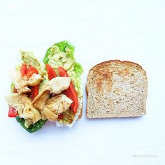 Today's lunch to-go is a freshly made vegan sandwich full of healthy goodness. Romaine lettuce, avo and chickpeas mash, red bell peppers, grilled artichokes with a yummy dusting of cayenne pepper on gluten free millet grain bread. Yummo!