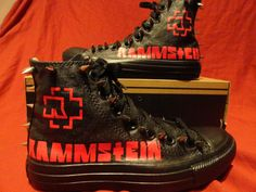 c9922e5727d These are custom made one-of-a-kind RAMMSTEIN Converse Chuck Taylors. These  guys are totally metal. Literally too -- they are custom designed
