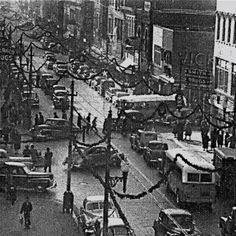 View of Portsmouth Ohio downtown 1940's.  40's, 50's, and 60's it was a very busy place.