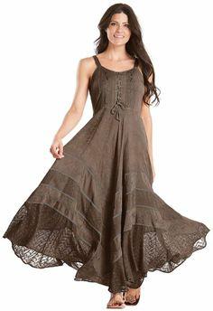 HolyClothing Riona Bustier Corset Gypsy Peasant Boho Maxi Sun Dress: Clothing