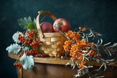 """Autumn Berries and Snails - <a href=""""http://nikolay-panov.pixels.com/products/autumn-berries-and-snails-nikolay-panov-art-print.html"""">nikolay-panov.pix...</a> red and yellow berrries in a basket with crawling snails in autumn"""