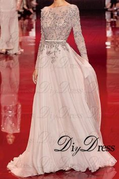 AHP084  New Arrival 2017 Design A-line Long Sleeve Prom Dresses Sexy See Through Bodice Chiffon Skirt Evening Dresses