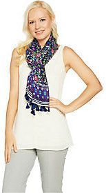 C. Wonder Floral Border Print Scarf with Pom Pom Trim