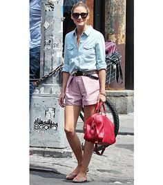 @Who What Wear - Olivia Palermo                 Spotted out in NYC.  On Olivia: Westward \\ Leaning No. 11 Children of California Sunglasses ($180)  7 For All Mankind Destroyed Denim Shirt ($158)  MSGM shorts  Louis Vuitton SC Bag ($4850) in Jasper  Pretty Ballerinas Marilyn Flowery Textile Flats ($199)   Alternatives:  Joe Fresh Print Soft Shorts ($17) in Coral  Mango Metal Appliques Skinny Belt ($30) in Black  Express Hinged Plate Satchel ($42)