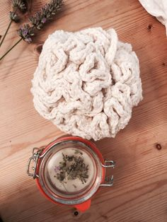 This crochet bath puff was easy and quick to make. I made some body scrub to go with it…it's a birthday gift. Recipie for the scrub is here...