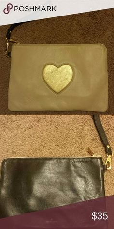 Ora Delphine carry all  pouch **not able to ship until Sept. 3rd**** color Stone and black,  with centered gold heart. Two pockets inside. ora delphine Bags Clutches & Wristlets