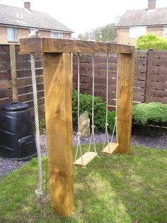 85 Small Backyard Playground Landscaping Ideas on a Budget - Decoradeas Backyard Swings, Small Backyard Landscaping, Backyard For Kids, Backyard Patio, Landscaping Design, Modern Backyard, Cool Backyard Ideas, Garden Swings, Pergola Ideas
