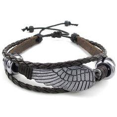 Amazon.com: KONOV Jewelry Mens Leather Wrap Bracelet, Vintage Wing, Fit 7-9 inch, Brown Silver: KONOV Jewelry: Jewelry