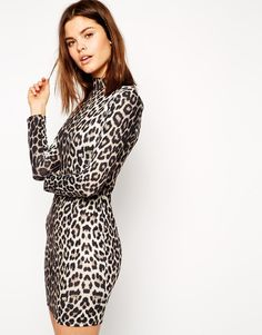 ASOS Animal High Neck Bodycon Dress with Long Sleeves