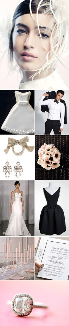 Lots of sweet touches of romance! Black, white and blush wedding color ideas and inspiration board