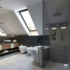 50 Attic Bathrooms to Inspire Your Next Renovation,attic bathroom plumbing,attic bathroom sloped ceiling,attic bathroom cost,attic shower ideas Attic Shower, Small Attic Bathroom, Bathroom Cost, Loft Bathroom, Big Bathrooms, Bathroom Plumbing, Bathroom Design Luxury, Bathroom Design Small, Sloped Ceiling Bathroom