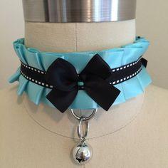 Aqua Kitten Play Collar, Cosplay Collar, Pet Play Collar by TheFlirtyKitten on Etsy
