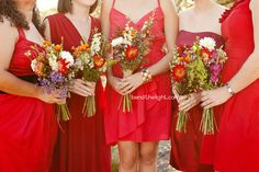 bridesmaids in red + wild bouquets - diff take on flowers
