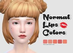 Normal Lips Colors5 colorsMale - FemaleFeel free too tag me @rinvalee or #rinvalee if you using my ccIf something wrong do not be afraid to write to me.Hairby@pastel-simsDownload: Dropbox  Notes: Please check the captcha box to proceed to the destination page and get link :D