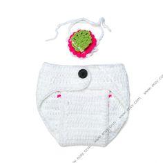 Baby Velvet Crochet Beanie Photography Flower Collar White Pant Set #eozy