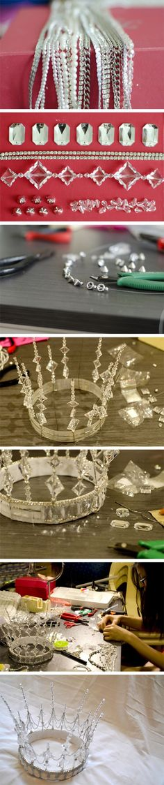 """making of """"snow queen"""". handcrafted crown made of wire, jewels, glass beads and silver chain."""