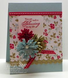 Fringe Scissor Flowers - Debbie Henderson (USA-Maine), Stamps: Blessings from Heaven DSP: Fresh Prints Cardstock: Crumb Cake, Real Red, Pool Party, Whisper White Inks: Real Red Tools: Fringe Scissors, Scallop Border Punch, Envelope Punch Board, Sticky Strip, Mini Glue Dots Accessories: Large Pearl Jewels, Real Red Stitched Grosgrain Ribbon Misc: Hot Glue Gun