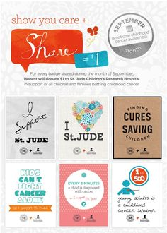 We Share, The Honest Company Gives! Help the Honest Company Support National Childhood Cancer Awareness Month & St Jude Children's Research Hospital. Childhood Cancer Awareness Month, Build A Better World, Clinical Research, Competitor Analysis, Childrens Hospital, How To Raise Money, Helping Others, Fundraising, People