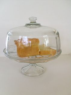 Glass Cake Dish Pedestal Vintage by angel9 on Etsy, $45.00