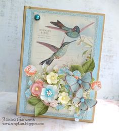 Birds, florals, and butterflies on this Time to Flourish card by Mariuisz Gierszewski #graphic45