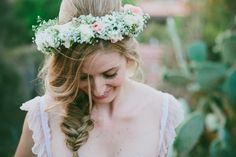 Beautiful wedding hair & wreath.  Nandi + Brett by Lad & Lass.