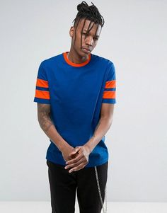 Asos Relaxed T-Shirt With Contrast Stripe Sleeve In Blue/Orange