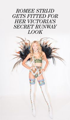 """Romee Strijd's Victoria's Secret Runway Look Fitting: We found ourselves face to, uh, navel with VS Angel Romee Strijd at corporate HQ in Midtown Manhattan, as she was pinned into her look from a section of the show titled Mountain Romance. """"It's one of the most feminine sections,"""" she told us as a makeup artist touched her up. """"I feel like Heidi on the hill."""" One very, very sexy Heidi.   coveteur.com"""