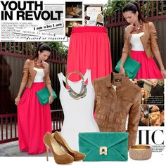 Love this look... you could do any maxi with the tank and jacket! Bright clutch, statement necklace, leather jacket, done!