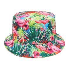 Bucket Hat Flamingo Printed Unisex Festival Fishing Summer Sun Beach Party Cap