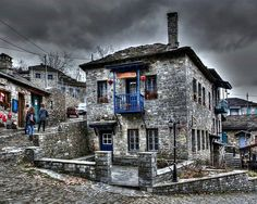 Mansion-house at a cobblestone pavement in Tsepelovo Zagori Places Ive Been, Places To Go, Mansions Homes, Stone Houses, Pavement, Greece Travel, Ancient Greece, Beautiful Islands, Explore