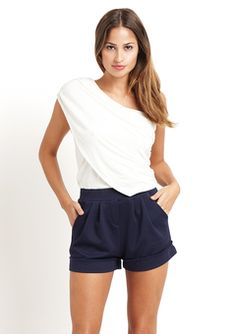 Casual Couture - Ivory/Navy One-Shoulder Romper