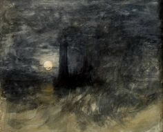 Turner Eddystone lighthouse in a storm by a full moon c.1813