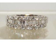 18k Yellow Gold Princess & Baguette Diamond Ring Wedding Band 4 Carats