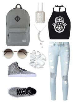 """Untitled #29"" by valenciaspain ❤ liked on Polyvore featuring Boohoo, Frame Denim, Gemvara, Herschel Supply Co., Supra, Essie and Linda Farrow"