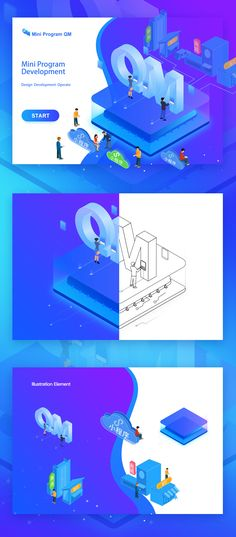 isometric illustration QM about mini program on Behance Graphisches Design, Web Design Trends, Vector Design, Book Design, Graphic Design, Isometric Art, Isometric Design, Business Illustration, Whale Illustration