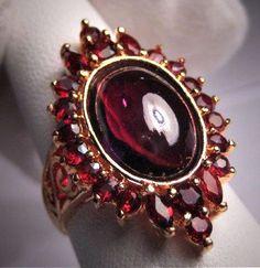Vintage Garnet Ring Antique Victorian Styl