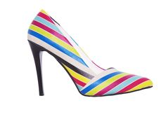 In love with bright colours / black heel / stripes / High heel shoes stl4301 / gobyeurope / fashionista / whowhatwear / goby shoes / striped shoes