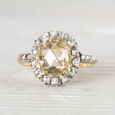Image of 1.35 Carat Antique Edwardian Yellow-Brown Rose Cut Diamond Engagement Ring Halo Engagement Rings, Wedding Engagement, Antique Engagement Rings, Wedding Rings, Wedding Stuff, Yellow Diamond Rings, Rose Cut Diamond, Clean Gold Jewelry, Bridal Jewelry
