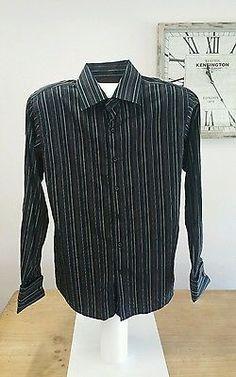 Tarocash French Cuff Dress Shirt in Black & Gold Brown Vertical Stripes Size M