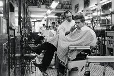 James Dean - I love vintage barber shop pics.