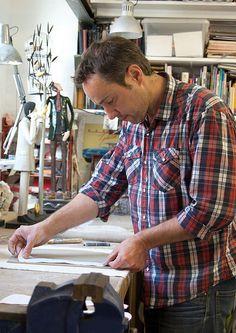 Porcelain Sculpture Artist Craig Mitchell in his studio. Edinburgh, Scotland. Video interview to see here http://makerflix.com/video.php?vid=OcaDJa899-c