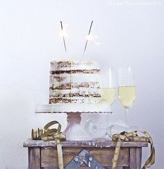 champagne layer cake with passion fruit curd