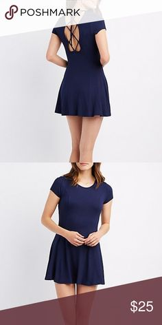 475aa06f0a navy lace up back swing dress Ribbed knit adds a casual touch to this sweet  swing