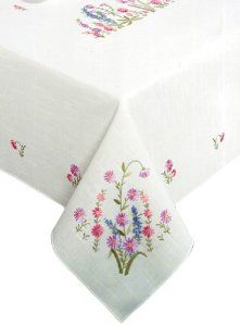 Tobin Wildflowers Stamped Oblong Tablecloth for Embroider. Embroidery Flowers Pattern, Crewel Embroidery, Hand Embroidery Designs, Cross Stitch Embroidery, Embroidery Patterns, Machine Embroidery, Oblong Tablecloth, Crochet Tablecloth, Christmas Table Cloth