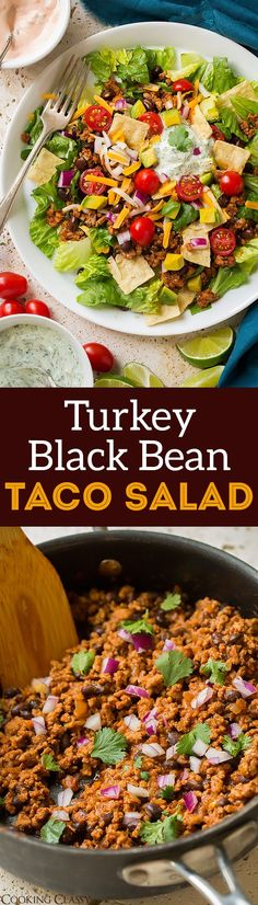 Turkey Black Bean Taco Salad - a healthier take on taco salad! It's my go-to taco salad recipe! Whole family loves it!