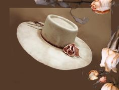 Victorian Rose Hat - Spanish crown Beaver tea stained hand made hat, lined in satin brocade, leather hat band with delicate leather rose embellishment. Cowgirl Hats, Western Hats, Cowgirl Outfits, Cowgirl Style, Cowgirl Tuff, Western Style, Bohemian Style Men, Leather Hats, Leather Bracelets