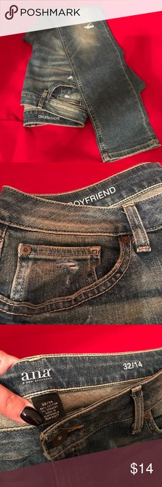 ANA DISTRESSED BOYFRIEND JEANS SIZE 32/14🌹 ANA DISTRESSED BOYFRIEND JEANS SIZE 32/14. EXCELLENT PRE LOVED CONDITION.💞 TIGHT STRAIGHT LEGS BUT LOOSE BOYFRIEND CUT WITH DISTRESSED DETAIL. CUTE JEANS!😬 ana Jeans Boyfriend