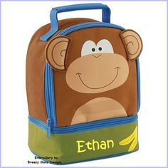 Check out Personalized Stephen Joseph Monkey Lunch Pals on breezyoaksdesigns