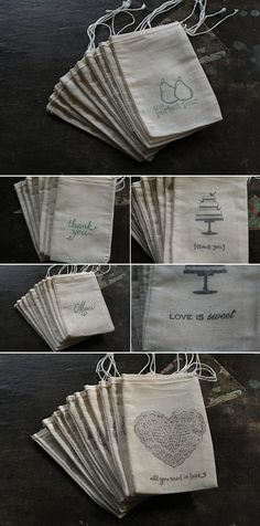 ~Great Find~ Hand Stamped Muslin Bags for the Adorable Details - Alexan Events Muslin Bags, Fabric Bags, Usher Gifts, Pretty Packaging, Packaging Ideas, Jewelry Packaging, Gift Bags, Event Planning, Hand Stamped